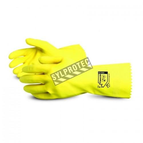 Gants de latex naturel jaune doublés de coton, épaisseur 18 mil, longueur 12 pouces, larges (9), 12 paire/paquet.