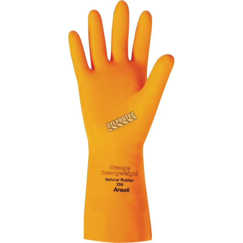Orange  latex glove textured 13 in long and 29 mils thick.