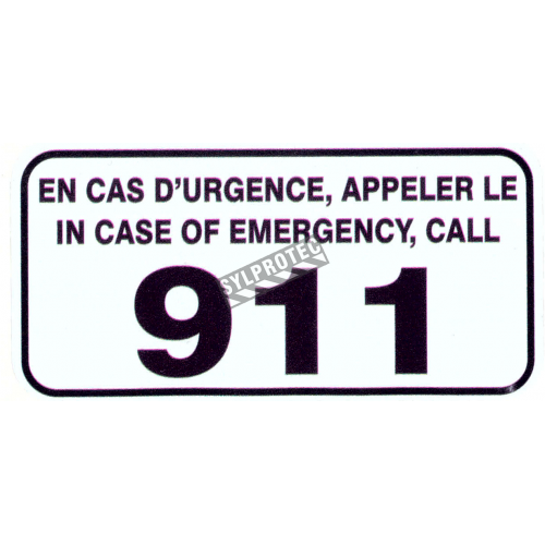 "Bilingual self-adhesive vinyl ""In case or emergency call 911, En cas d'urgence appeler le 911''."