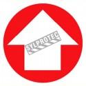 Affiche d'urgence et d'incendie arborant une flèche circulaire en vinyle autocollant pour une signalétique sur mesure