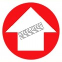 Self-adhesive vinyl circular arrow sign for custom-made emergency and fire safety signage