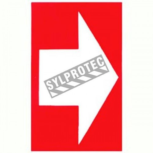 Self-adhesive vinyl arrow sign for custom-made emergency & fire safety signage