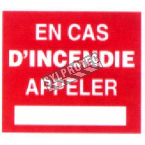 "French self-adhesive vinyl ""In case of emergency, call"" emergency and fire safety sign"