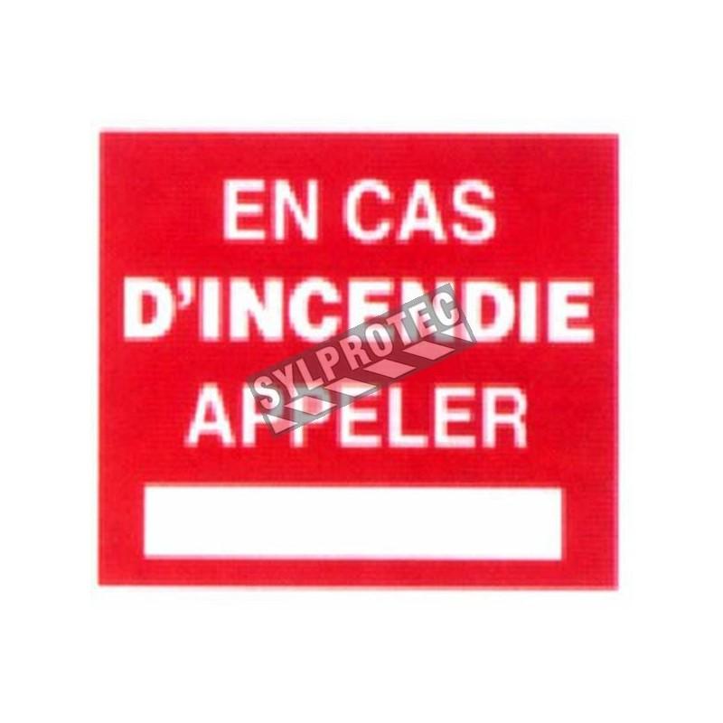 Affiche française d'urgence et d'incendie «En cas d'incendie appeler» en vinyle autocollant