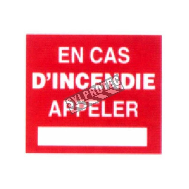 """French self-adhesive vinyl """"In case of emergency, call"""" emergency and fire safety sign"""