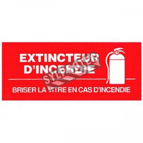 "French self-adhesive vinyl ""Fire Extinguisher In Case of Fire Break Glass"" emergency and fire safety sign"