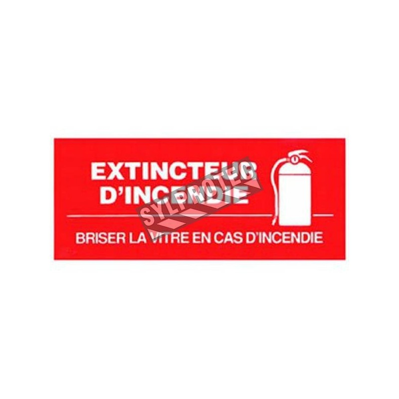 """French self-adhesive vinyl """"Fire Extinguisher In Case of Fire Break Glass"""" emergency and fire safety sign"""