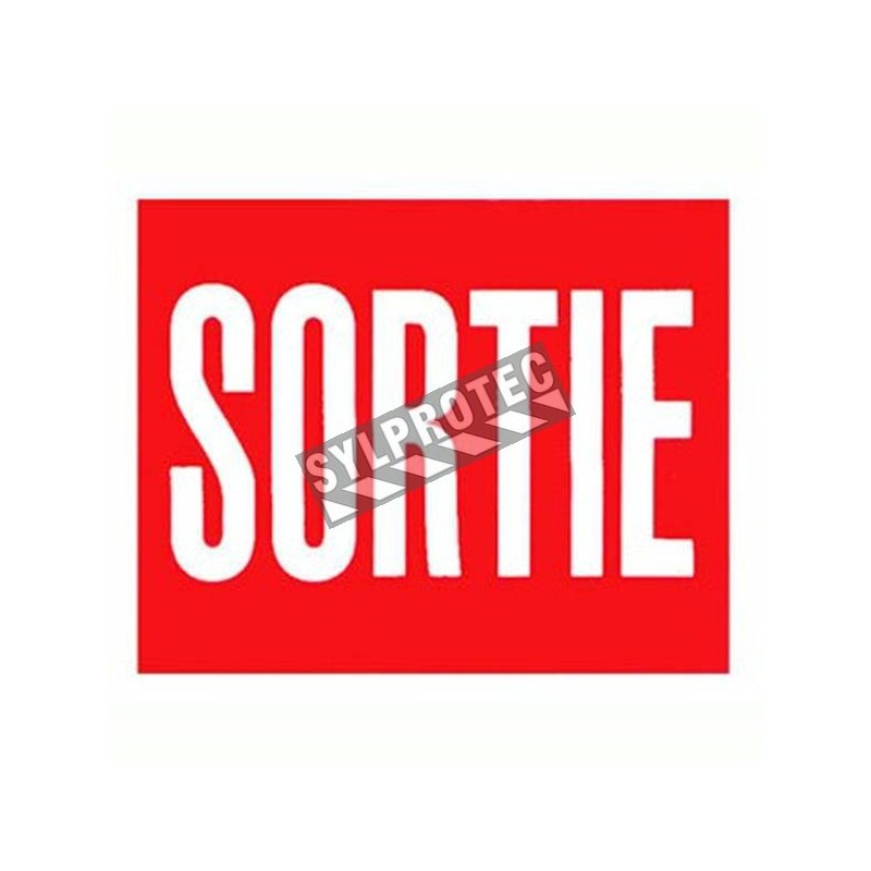 """French self-adhesive vinyl """"Exit"""" emergency and fire safety sign"""