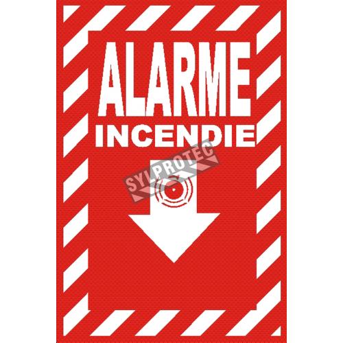 Affiche d'urgence et d'incendie «Alarme Incendie» en divers formats, matériaux, langues & éléments optionnels