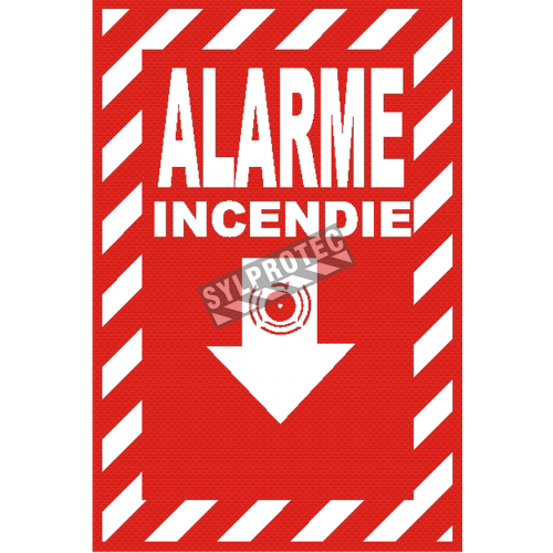 "French emergency ""Fire Alarm"" sign in various sizes, shapes, materials & languages + optional features"
