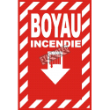 """French emergency """"Fire Hose"""" with transverse crosshatch, sign in various sizes, shapes."""