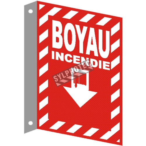 "French emergency ""Fire Hose"" with transverse crosshatch, sign in various sizes, shapes."