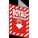 Affiche d'urgence et d'incendie «Feu Boyau» hachuré transversale, en divers formats & matériaux.