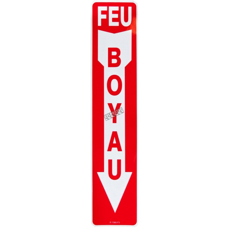 """French emergency """"Fire Hose"""" sign in various sizes, shapes, materials & languages + optional features"""