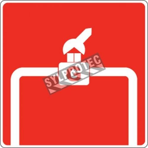 Affiche d'incendie en aluminium pour robinet d'arrêt manuel sur la tuyauterie de gaz