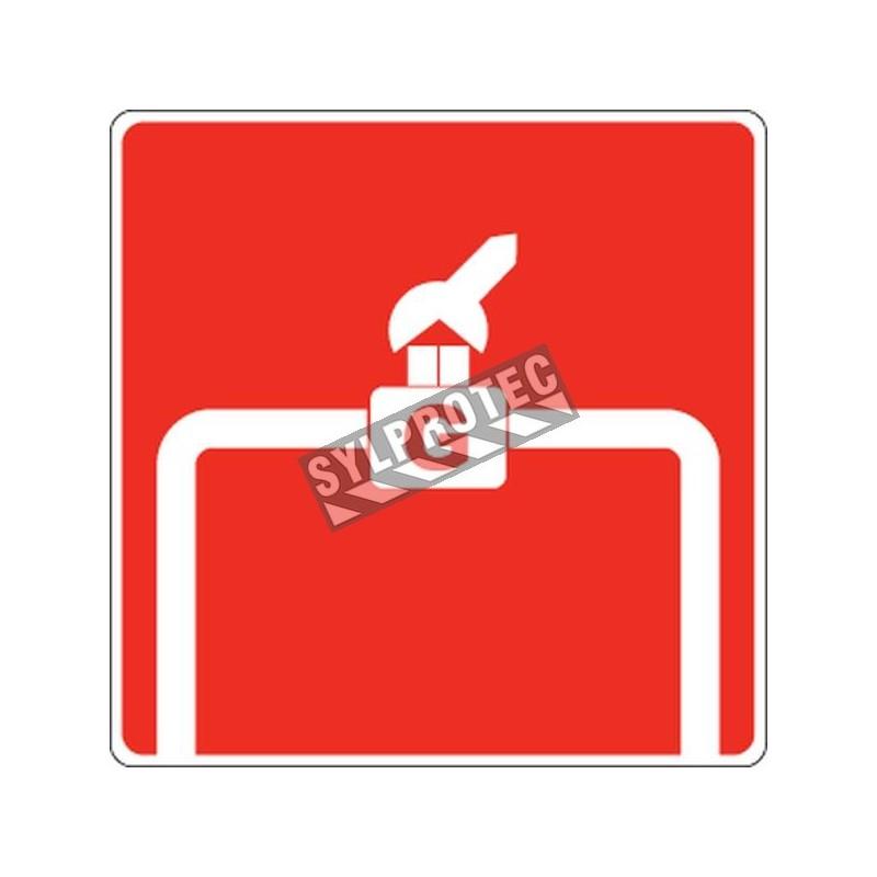 Aluminium sign for manual gas shutoff valve
