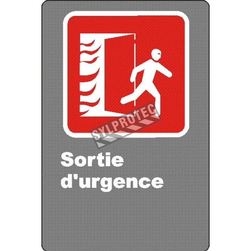 Affiche d'urgence et d'incendie «Sortie d'urgence» en divers formats, matériaux, langues & éléments optionnels