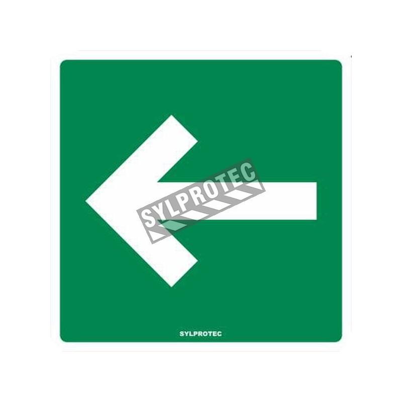 Affiche en aluminium avec flèche blanche sur fond vert pour indiquer l'emplacement des raccords-pompier (siamoises).