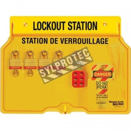 Station de verrouillage 4 cadenas, 2 moraillons et 12 étiquettes danger ne pas opérer (bilingue).