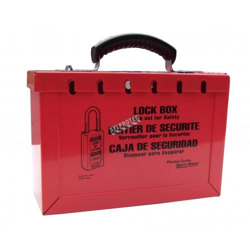 Boîte de verrouillage rouge, pour groupe de travailleurs en procédure de verrouillage.