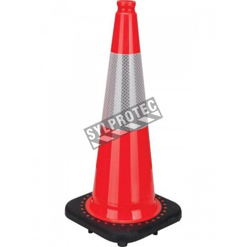 Orange traffic cone whit 4 in collar, 28 in. long, weight: 7.5 lbs. Made from 100% PVC.