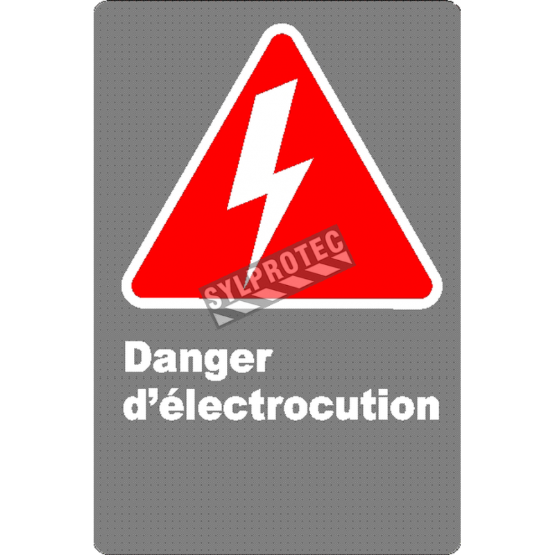 """French CSA """"Shock Hazard"""" sign in various sizes, shapes, materials & languages + options"""