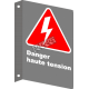 """French CSA """"Danger High Tension"""" sign in various sizes, shapes, materials & languages + options"""