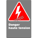 Affiche CSA «Danger haute tension» en français: divers formats, matériaux & langues + options