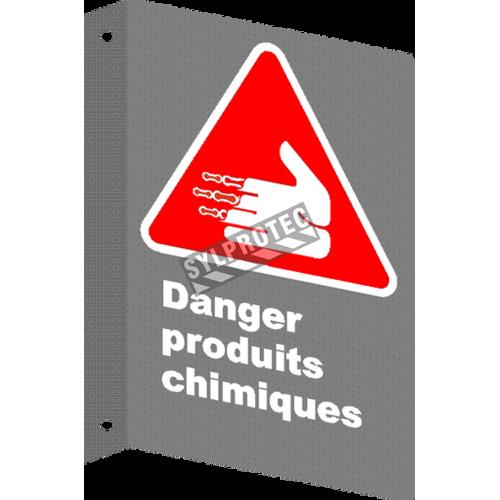 Affiche CSA «Danger produits chimiques» en français: divers formats, matériaux & langues + options