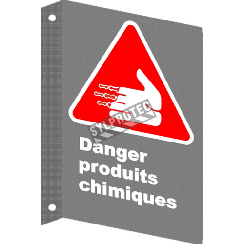 "French CSA ""Danger Chemical Products"" sign in various sizes, shapes, materials & languages + options"