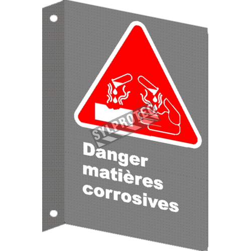 "French CSA ""Danger Corrosive Material"" sign in various sizes, shapes, materials & languages + options"