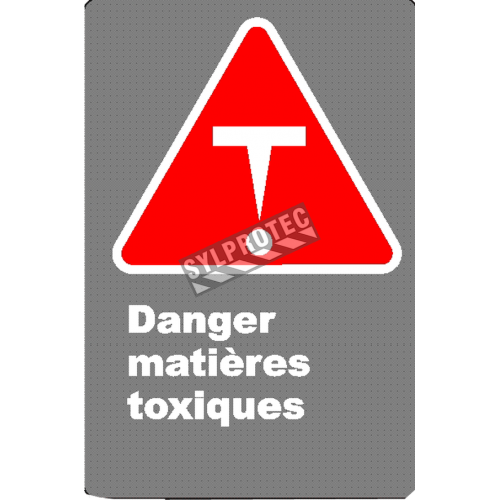 "French CSA ""Danger Toxic Substances"" sign in various sizes, materials & languages + options"