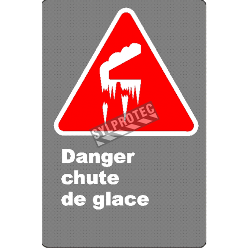 "French CSA ""Danger Falling Ice"" sign in various sizes, shapes, materials & languages + options"