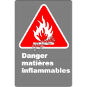 "French CSA ""Danger Flammable Materials"" sign in various sizes, shapes, materials & languages + options"