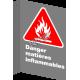 Affiche CSA «Danger matières inflammables» en français: divers formats, matériaux & langues + options