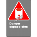 "French CSA ""Danger Confined Space"" sign in various sizes, shapes, materials & languages + options"