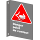 """French CSA """"Danger Point of Contact"""" sign in various sizes, shapes, materials & languages + options"""