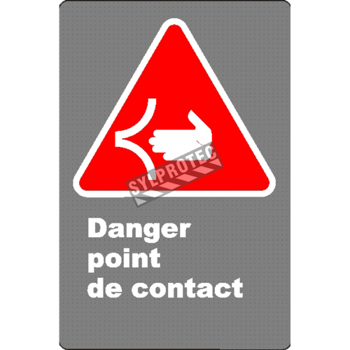 "French CSA ""Danger Point of Contact"" sign in various sizes, shapes, materials & languages + options"