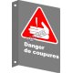 Affiche CSA «Danger de coupures» en français: langue, format & matériau divers + options