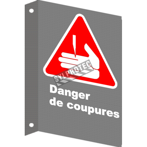Affiche CSA «Danger de coupures» en français: langue, format & matériau divers + options