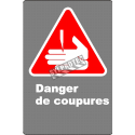 Affiche CDN «Danger de coupures» en français: langue, format & matériau divers + options