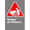 Affiche CSA «Danger de brûlures» en français: langue, format & matériau divers + options