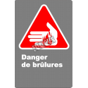 "French CSA ""Danger Burning Hazard"" sign in various sizes, materials & languages + options"