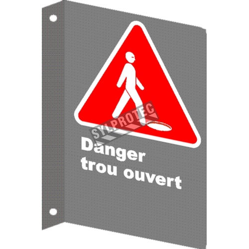 "French CSA ""Danger Open Hole"" sign in various sizes, materials & languages + options"