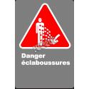 Affiche CSA «Danger d'éclaboussures» en français: langue, format & matériau divers + options