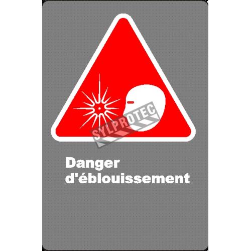 Affiche CSA «Danger d'éblouissement» en français: langue, format & matériau divers + options