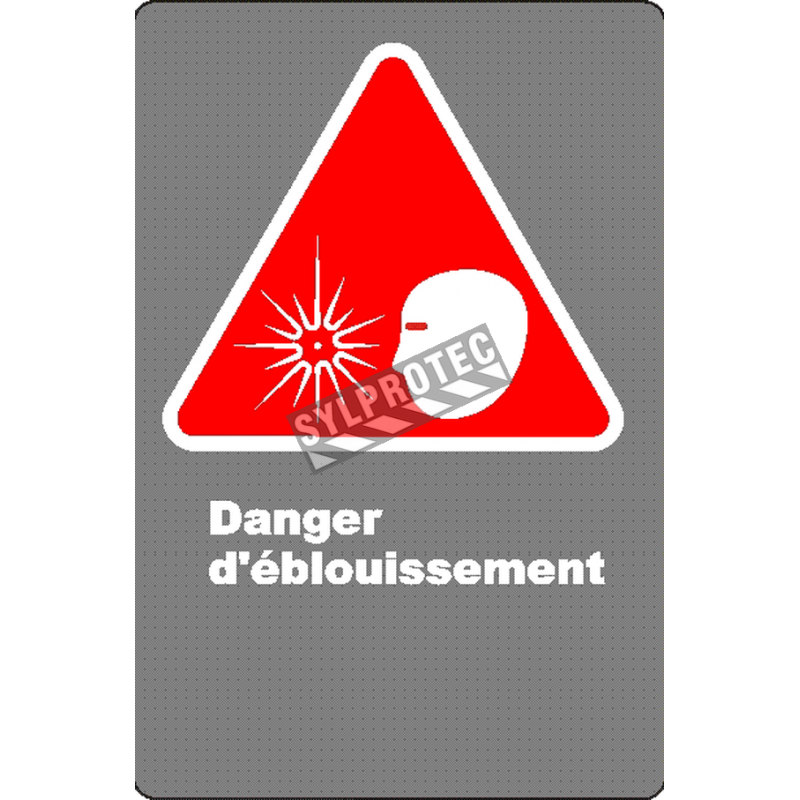 """French CSA """"Danger Risk of Glare"""" sign in various sizes, materials & languages + options"""