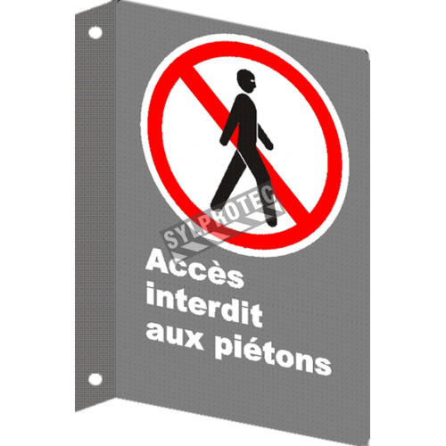 """French CSA """"No Entry to Pedestrians"""" sign in various sizes, shapes, materials & languages + optional features"""