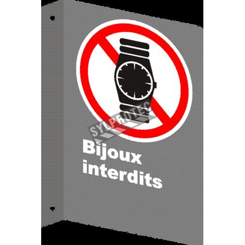 Affiche CSA «Bijoux interdits»  montre, de langue française: formats variés, matériaux divers, d'autres langues & options