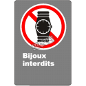 """French CDN """"No Jewelry Allowed with pictogram of a watch sign in various sizes, materials & languages"""